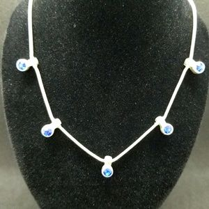 Avenue sapphire crystal silver-tone necklace